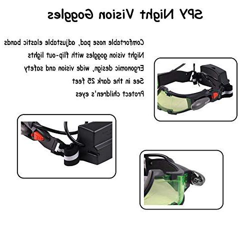 Weahre Goggles, Adjustable LED Goggles with Flip-Out Green Christmas Bicycling, Eyes