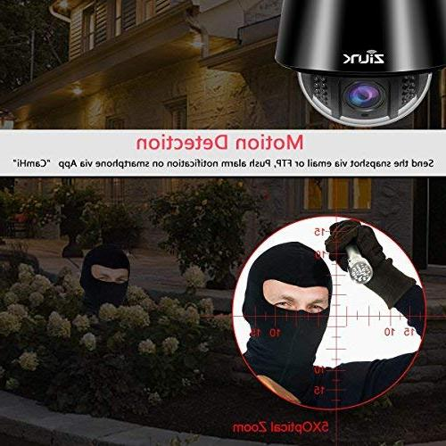 ZILINK Outdoor Camera, Wireless PTZ Camera, Crystal 5X Zoom, Focus, Motion Vision, Pre-Installed 32GB Card,