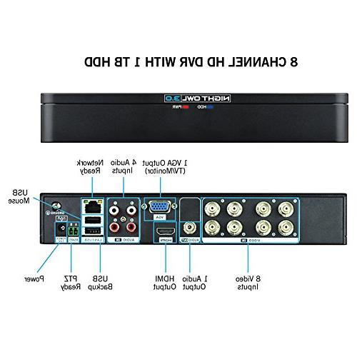 Night WM-841-2MP 8 Channel Security DVR HDD and 1080p HD Cameras