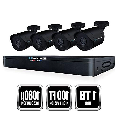 Night WM-841-2MP Channel HD Video Security DVR TB HDD 1080p Wired Cameras