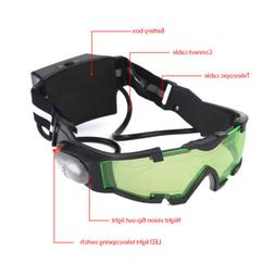Adjustable LED Night Vision Goggles Eyeshield Glasses w/Flip