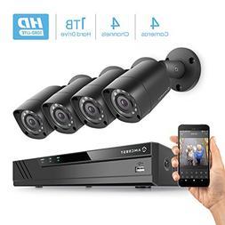 Amcrest HD 1080P-Lite 4CH Video Security Camera System w/ Fo