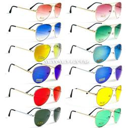 Mens Womens Mirrored Shades Aviator Sunglasses Retro Designe