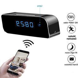 Moosoo Wifi Camera Full HD 1080P Alarm Clock Camera Night Vi
