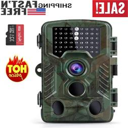 16MP 1080P Trail Game Camera w 32GB Card, 49Pcs IR LEDs, 0.2