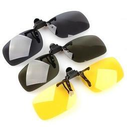 Night Vision Glasses Lens Clip On Flip Up Sunglasses Drving