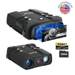 "Night Vision Goggles Binoculars 1080P 3.6-10.8X 4"" LCD Infra"