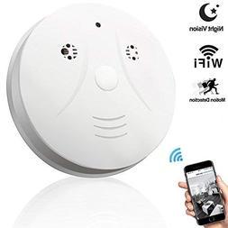 Night Vision Hidden Spy Camera, QUANDU WiFi Smoke Detector H