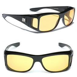 Night Vision Yellow Lens Sunglasses Driving Goggle Fit Over