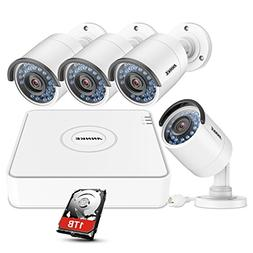 ANNKE 4 Channel HD 1080P NVR SPOE Security Camera System 1TB