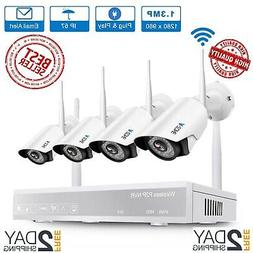 Wireless Security Camera System, A-ZONE 4CH 1080P Wireless N