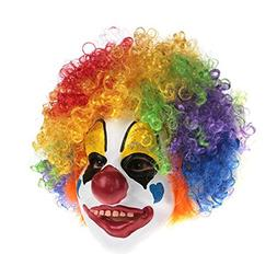 Clown Mask With Colorful Hair Scary Clown Mask For Kids Hall