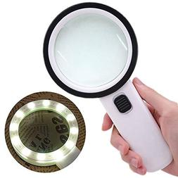 Quelife 30X High Power Handheld Magnifying Glass Led Light J