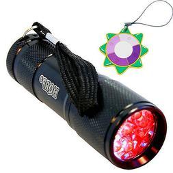 HQRP 3 Watt Red Light LED Black Flashlight for Astronomy, Av