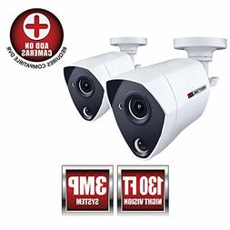 Night Owl Security 2 Pack Add-on Extreme HD 3MP Dual Sensor