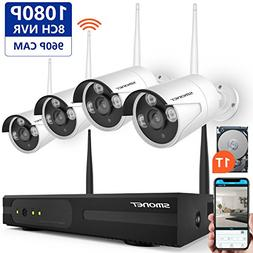 Wireless Security Camera System,SMONET 4CH 1080P Wireless Video Security System with 2TB HDD ,4pcs 1080P Indoor/Outdoor Wireless IP Cameras,P2P,65ft Night Vision,Easy Remote View Full HD WIFI NVR KIT