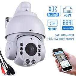 SUNBA 1080P HD, PoE+, 20X Optical Zoom, Night Vision, PTZ Ou