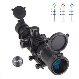 Pinty 1.5-4x30mm Tactical Chevron Reticle Riflescope Red&Blu