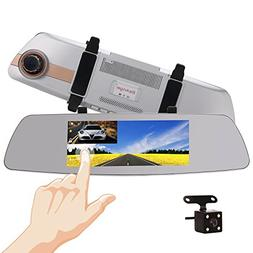 "7 Inch Touch Screen Rearview Mirror Car Camera 7"" Dash Car D"