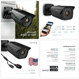UltraHD 4K  Outdoor Bullet POE IP Camera, 3840x2160, 131ft N