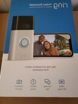 Ring Video Doorbell  Camera Satin Nickel Wifi 1080 HD Wirele