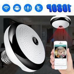 Wifi IP Camera Light Bulb 360 Panoramic Home Security Lamp F