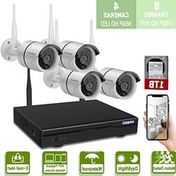 Wireless 8-Channel 1080P Security Camera System with 4pcs 96
