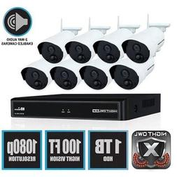 WNVR201-88P-B-8CH Wireless 1080p Security System with 1T