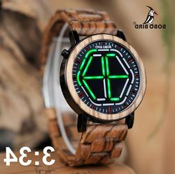 BOBO BIRD WP13 Brand Design Digital Watch Night Vision Woode