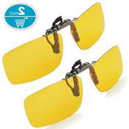 Yellow Night Vision Nighttime Glare Driving Aviator Clip-on